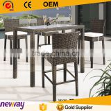 Black color rattan outdoor bar table and chair wickes furniture bar stool set with cushion