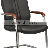 simple design round chrome tube pu sled with wood arm conference chair A221-X08 Anqiao office chair factory