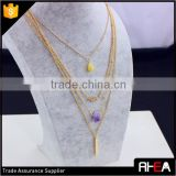 4 layered multi chain necklace.18k gold plated pendant necklace,fashion amethyst stone necklace