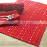 30*45cm easy-clean good color fastenss ribbed jacquard colorful chritsmas table mats