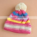 Children's hats baby hat children winter warm winter wool cap thickening qiu dong paragraph striped knit hat