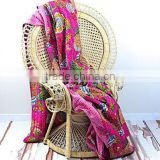 Wholesale Indian Kantha quilt, Traditional Kantha Handwork Bedspread Floral Printed Kantha Quilt
