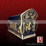 Coffin style oddiyana glaze hand painting wholesale cremation urns of ceramic material for sale
