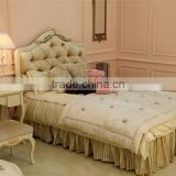 European style antique finished handmade children wooden carved girl princess twins - bed design with gold rim - BF07-70358
