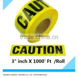 "Yellow Caution Tape 3"" inch X 1000' Ft. Rolls Safety Barrier Police Barricade"