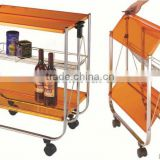 Easy folding kitchen serving trolley cart