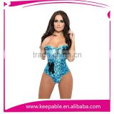 Women's Embroidered Blue Montage Overbust Corsets Waist Trainer
