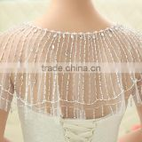 Summer Party Bridal Gown Wraps Wholesale Round Neckline cap Sleeve Lace Wedding Bolero rhinestone Jacket