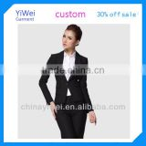 One button black business woman suit