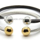 Stainless Steel Silver Gold Plated Cable Wire Wrap Adjustable Round Bangle Cuff Bracelet