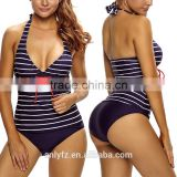 China Manufacturer Wholesale Womens V Neck Halter Backless Striped Tankini Top Swimsuit With Briefs