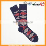 2015 new high street fashion design bulk wholesale warm crew thick organic cotton knitted man argyle patterned socks