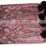 Paiseley design shawls with Fur balls