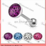 Fashion leopard skin logo unique tongue ring barbell body piercing jewelry