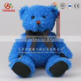 Factory price 20cm stuffed blue teddy bear embroidered plush toy with bowtie