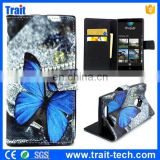 Blue Butterfly Waterproof Phone Magnetic Flip Stand PU Leather Wallet Case Cover for Nokia Lumia 830