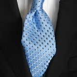 High Stitches Standard Length Silk Woven Neckties Mens Suit Accessories Silver