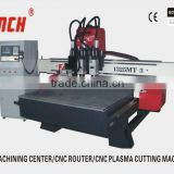 multi-heads cnc wood doors carving machine /4.5kw spindles /vacuum table/heavy duty structure /Stepper motors