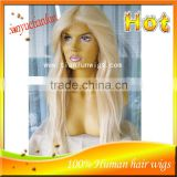 Wholesale Factory Price #60 Blonde Color Brazilian Virgin Human Hair Wig Full Lace Wigs For White Women                                                                         Quality Choice