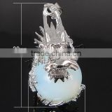 silver color plated Brass Sea Opal Dragon Pendants