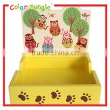 Desktop organizer wooden memo pad holder Cartoon animal memo clip holder
