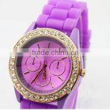 Stock! Newest Deisgn Hot Sale Luxury High Quality Fashion Crystal Purple Silicone Wrist Watch for Women