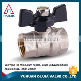 nickel plated brass stem iron nut nipple union PTFE full port BSP female thread forged PN 20 brass ball valve