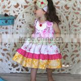 2016 fashion girl clothes infant girls boutique clothing remake multicolors ruffles lap dress outfits