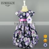 Latest Children Dress Designs Baby Dress Pictures Child Floral Print Sash Flower Ribbon Party Ball Gown                                                                         Quality Choice