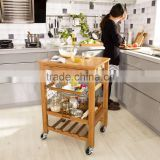 3 tiers bamboo kitchen trolley with drawer,wine rack and basket multifunction kitchen food cart