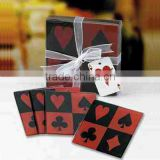 Poker design square printed rend and black glass coaster for decoration