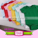 Fashion organic cotton plain baby rompers short sleeve baby bodysuit baby romper