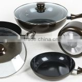 Black coating forged non stick cookware set with lid                                                                                                         Supplier's Choice