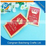 painted carved red royal metal badge with nice look and competitive price of mature technique and custom design stickers