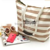 wholesale crossstripe canvas beach tote bag;Banded Striped Beach Town Tote Bag with Rope Handles