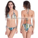 Sexy fashion Swimsuit low waist Green snake-grain Beach bikini set plus size 4XL