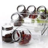 glass spice jar set rack