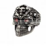 Stainless Steel Titanium Silver Men's Skull Men Cool Biker Punk Ring Retro