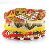 Fashion beads bracelet handmade bohemian ribbon wrap bracelet