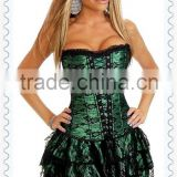 Sexy lace Overlay Corset Costumes Burlesque Ladies Corset Sexy Bustier Corset+skirt+underpants