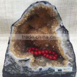 Natural Rock Crystal Citrine Geodes Ornament For Sale