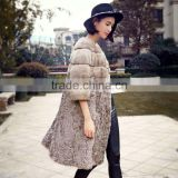 2016/2017 Winter Long Style Grey Mink and Kalgan Patchwork Fur Coat with Three-quarter Sleeve for Fashion Girls