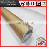Gloss 3D Gold Carbon Fiber Vinyl Sheet Sticker Film Decal carbon vinyl wrap with air bubble free