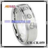 Comfort Fit new design fashion cobalt ring three diamond inlay silver cobalt wedding rings