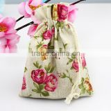 10X14cm Cotton Flower Bag Print Cosmetic Jewelry Packaging Bag Wedding Party Gift Cotton Drawstring Bags