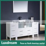 White high gloss Customized bathroom vanity with bath mirror
