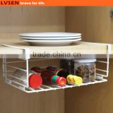 white iron metal wire storage hanging kitchen cabinet basket