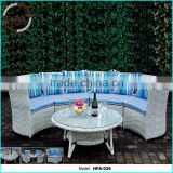 rattan sofa outdoor semi circle furniture, wicker sofa restaurant furniture, outdoor sofa round