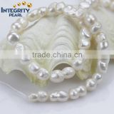 10mm white peanut special irregular baroque natural cultured pearl strand