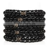 2016 Fashion Bracelet Mens Amber Jewelry Natural Stone Bracelet With Skull Head